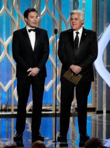 "Jimmy Fallon, left, host of ""Late Night,""  and Jay Leno, host of ""The Tonight Show,"" during the 70th Annual Golden Globe Awards."