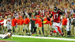 Devin Hester and the Falcons high-stepped their way to a 56-14 over Tampa Bay on Sept. 18.