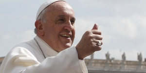 Pope gives thumbs up as he leaves general audience in St. Peter's Square at Vatican