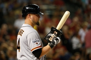 PHOENIX, AZ - APRIL 06:  Casey McGehee #14 of the San Francisco Giants warms up on deck during the Opening Day MLB game against the Arizona Diamondbacks at Chase Field on April 6, 2015 in Phoenix, Arizona.  (Photo by Christian Petersen/Getty Images)