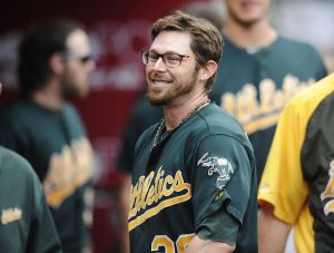 Eric Sogard of the Oakland Athletics has helped bring the trend of wearing glasses on the baseball field again.