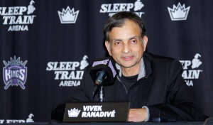 SACRAMENTO, CA - NOVEMBER 19: Vivek Ranadive' addresses the media at a press conference to announce the signing of a contract extension with Rudy Gay to the Sacramento Kings on November 19, 2014 at the Kings Practice Facility in Sacramento, California. NOTE TO USER: User expressly acknowledges and agrees that, by downloading and/or using this Photograph, user is consenting to the terms and conditions of the Getty Images License Agreement. Mandatory Copyright Notice: Copyright 2014 NBAE (Photo by Rocky Widner/NBAE via Getty Images)