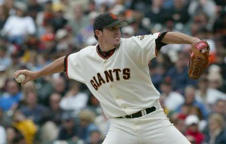 Joe Nathan is back in a San Francisco Giants uniform for the first time since 2003,pictured above.